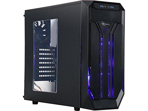 ROSEWILL ATX Mid Tower Gaming Computer Case with Side Window, Gaming Case with LED for Desktop / PC including 3 x 120mm Fans for outstanding ventilation, 2 x USB 3.0 ports (BRADLEY M)