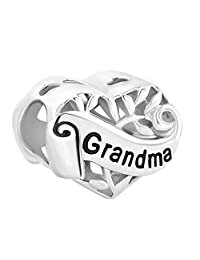 LovelyCharms 925 Sterling Silver Family Tree Of Life I Love You Sister/Daughter/Grandma Heart Bead Fit Pandora Bracelets
