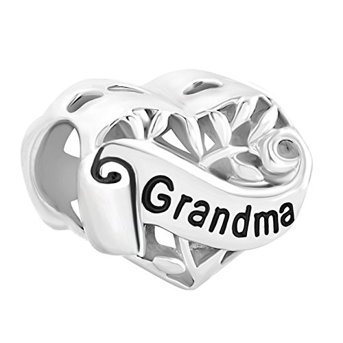 LuckyJewelry Sterling Silver I Love You Family Grandma Heart Charms Beads fit Charm Bracelet
