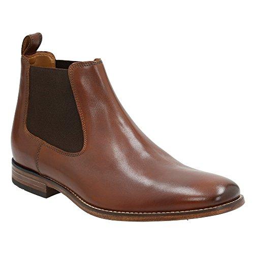 Hombre Bostoniano Narrate Plain Toe Chelsea Bota Tan Cuero