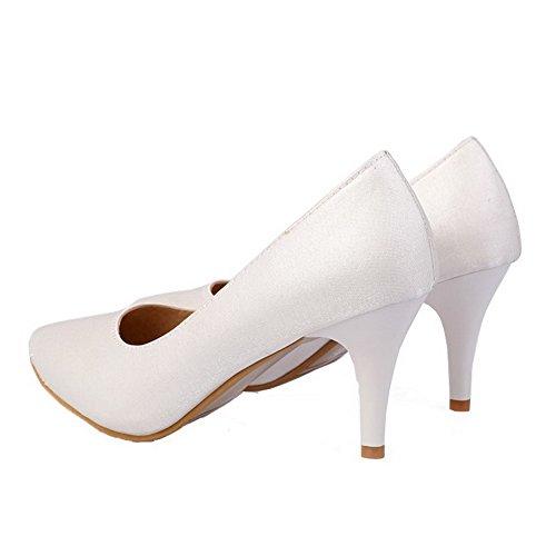 Amoonyfashion Damesschoenen Pu Punt-teen Kitten-hakken Stevige Pumps-schoenen Wit