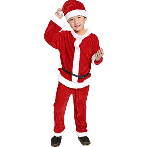 FEITONG 3-13 Years Little Girls Christmas Clothes, Costume Party Dresses+Shawl+Hat Outfit (Red #2 boy, 6-7Years)