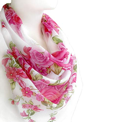 (White Square Cotton Scarf Lightweight Pink Red Floral Print Shawls and Wraps for Women 38x38