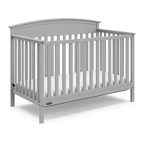 Graco Benton 4-in-1 Convertible Crib (Pebble Gray) - Easily Converts to Toddler Bed, Daybed or Full-Size Bed with Headboard, 3-Position Adjustable Mattress Support Base 1 Drop Side Convertible Crib