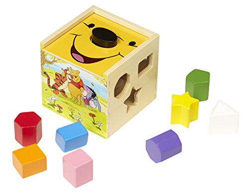 (Melissa & Doug Disney Baby Winnie the Pooh Wooden Shape Sorting Cube - Educational Toy With 9 Shapes)