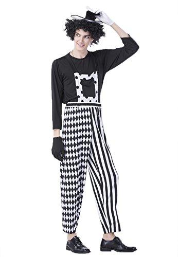 JJ-GOGO Jester Costume Men - Halloween Harlequin Costume Cosplay Clown Costume for Men (L) ()