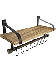 Love-KANKEI Wall Shelf for Storage - Rustic Wood Kitchen Spice Rack with Towel Bar and 8 Removable Hooks for Organize Cooking Utensils or Mugs Floating Shelf Carbonized Black