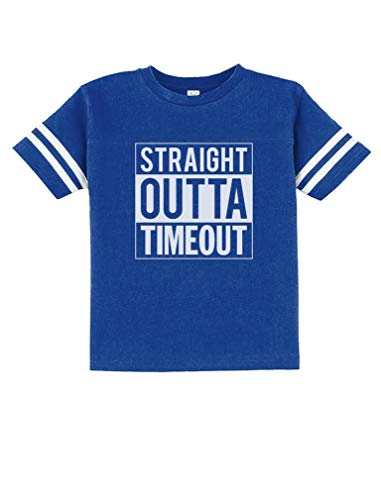 TeeStars - Straight Outta Timeout Funny Toddler Jersey T-Shirt 2T Blue