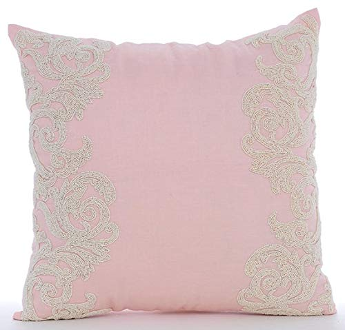 The HomeCentric Luxury Pink Decorative Pillows Cover, Beaded Floral Border Throw Pillows Cover, 16