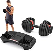 Cetoom Adjustable Dumbbells 52.5lbs Fitness Dumbbell Standard Adjustable Dumbbell with Handle and Weight Plate