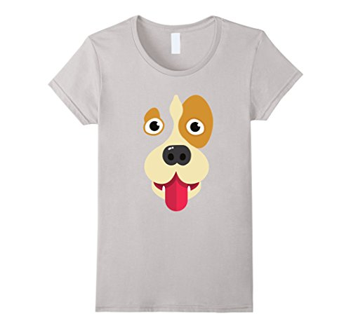 Womens Tongue Out Emoji Super Cute Face Dog Halloween Costume Shirt Large Silver
