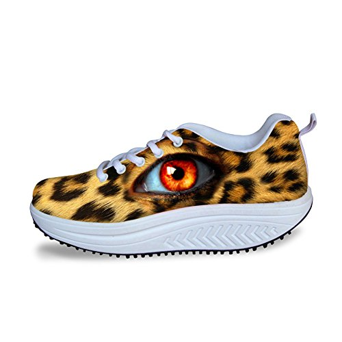 Eyes Platform Shape Sneakers Fitness HUGSIDEA Ups Leopard Shoes Walking Fashion Womens wXqEO1v