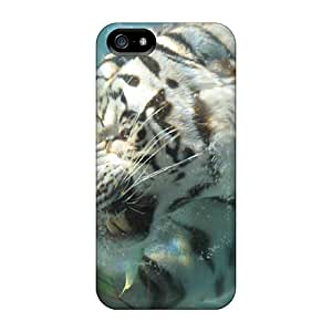 Quality RobertWood Cases Covers With White Tiger Under The Water Nice Appearance Compatible With Iphone 5/5s