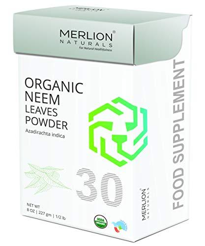 Organic Neem Leaves Powder (Azardirachta Indica) by MERLION NATURALS - 227 g / 8 OZ / 1/2 lb | USDA NOP Certified 100% Organic | Vegan | Non GMO ()