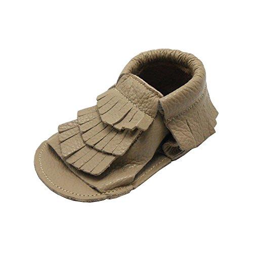 Sayoyo sandales enfants chaussons bébé chaussures cuir souple(brun de la Terre, 6-12 mois)