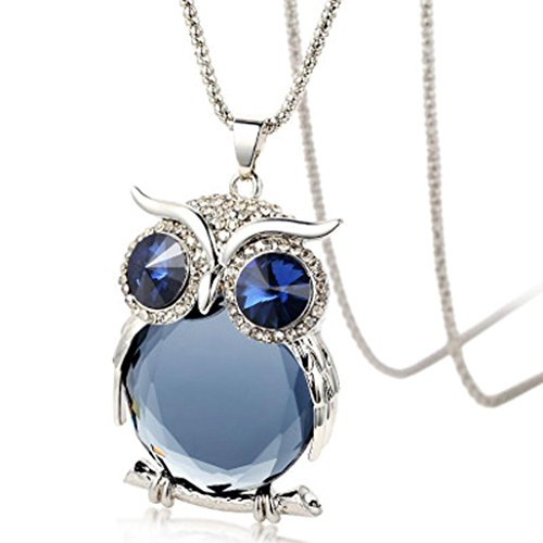 Challyhope Lucky Cute Owl Pendant Crytal Graceful Sweater Chain Long Necklace Jewelry Gifts For Womens Girls (Silvery White + Grey, Alloy)