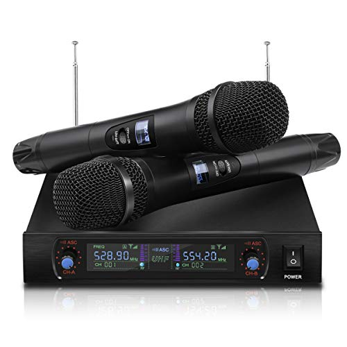 - NASUM UHF Dual Channel Professional Handheld Wireless Microphone System with Dual Wireless Dynamic Microphones,LCD Display Professional Home KTV Set for Party,Meeting,Karaoke,Classroom
