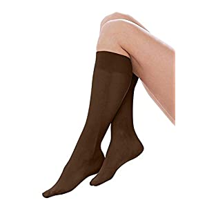 Women's Trouser Socks, 6 Pairs, Opaque Stretchy Nylon Knee High, Many Colors (6 Pairs Assorted #2)