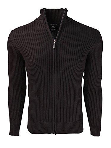 - Marquis Men's Black Full Zip Ribbed Mock Turtleneck 100% Cotton Cardigan