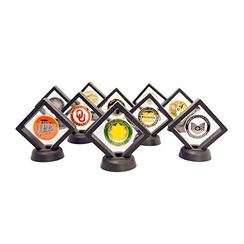 DECOMIL Coin Display Stand - Set of 10 3D Floating Frame Display Holder with Stands for Challenge Coins, AA Medallions, Jewelry, 2.75 x 2.75 x 0.75 Inches (10, Black)