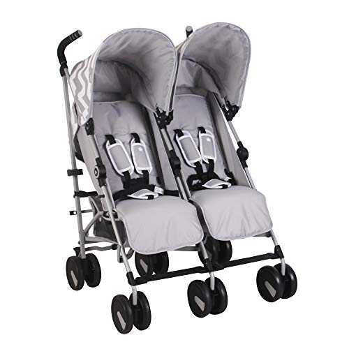 My Babiie US22 Grey Chevron Double Baby Stroller – Twin Lightweight Baby Stroller with Carry Handle – Silver Frame and Grey Chevron – Travel Stroller – from Birth to 33lbs per seat (66lbs Total)