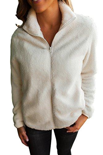 [해외]안젤리 아 여성의 부드럽고 따뜻한 퍼지 지퍼 업 소매 커프스 자켓 외투 코트 주머니/Angelia Women`s Soft Warm Fuzzy Zip up Full Sleeve Fleece Jacket Outerwear Coat with Pockets