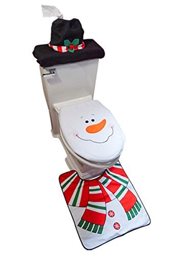 D-FantiX 3-Piece Snowman Santa Toilet Seat Cover and Rug Set Red Christmas Decorations Bathroom ()
