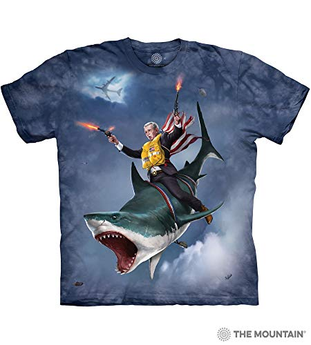 T-shirt Adult Nation - The Mountain Dubya Shark-M Adult T-Shirt, Blue, Medium