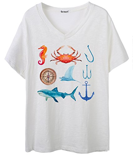 So'each Women's Shark Anchor Crab Compass V-Neck Tee T-shirt Ladies Casual Top Blanco