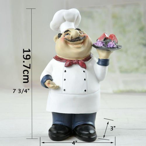 KiaoTime Italian Chef Figurines Kitchen Decor Cooking Chef with Fruit Figurine Counter Top Welcome Chef Statue Collectible Figurine
