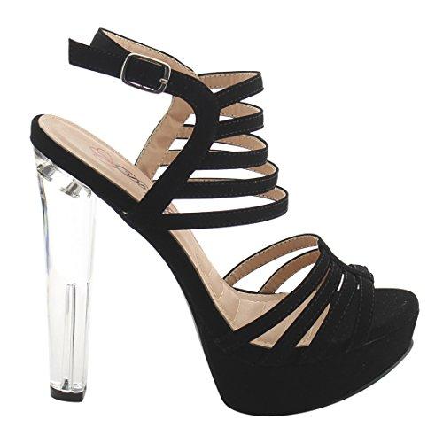 DBDK AH25 Womens Strappy Ankle Strap Lucite Platform Dress Heels Black fjBo5Ix