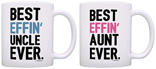 Aunt Uncle Gifts Best Effin Aunt and Uncle Ever Bundle Funny Aunt Uncle Gifts 2 Pack Gift Coffee Mugs Tea Cups White