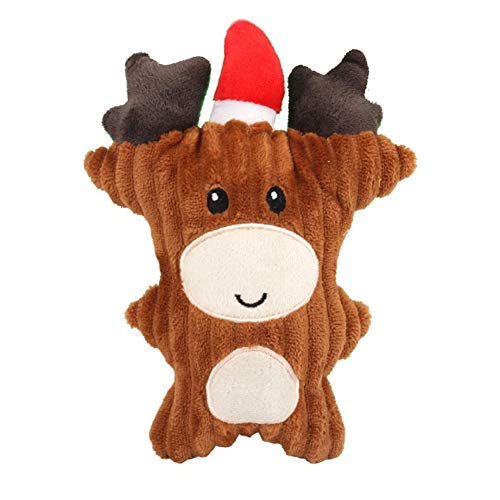 (Stock Show Christmas Dog Squeaky Corduroy Toys Xmas Cute Reindeer Santa Snowmen Shape Interactive Gift Chew Molar Toy for Small Medium Breeds Puppy Pup Doggie Playing Chewing Biting)