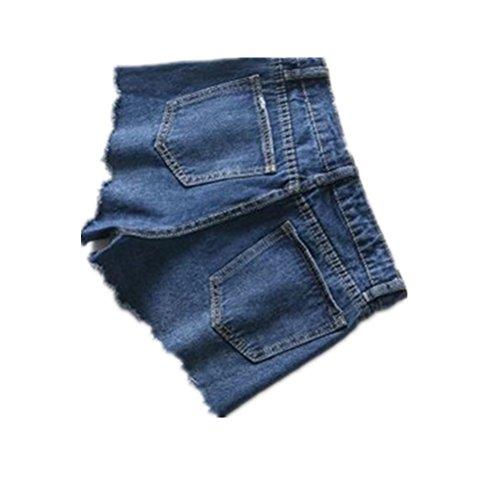 Loisir Vintage Taille Dechir Oudan Shorts Bas Casual Bleu Chic Jeans Mini pour Femme tqqPng