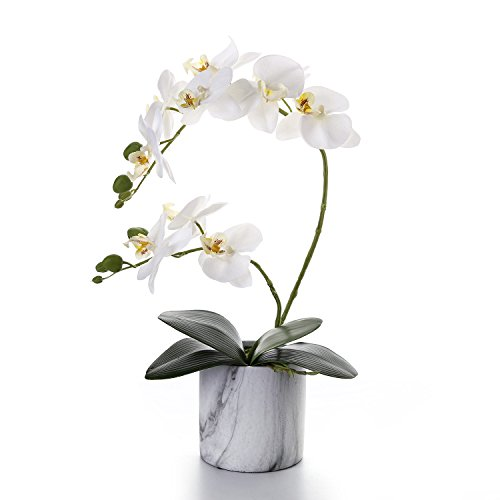 Livilan Artificial Flower Arrangements White Silk Orchid in Marble Ceramic Vase for Home Decoration