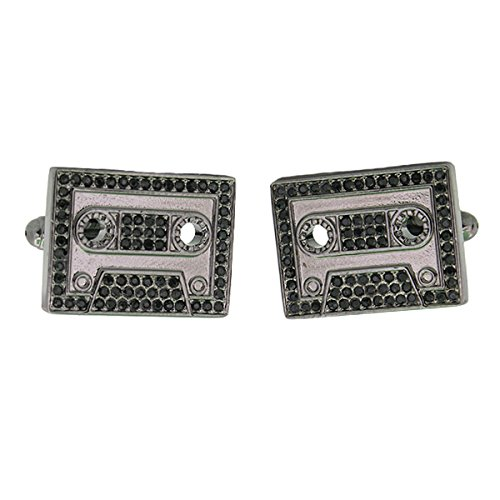 Cassette Tape Gunmetal with Black Crystal Cufflinks