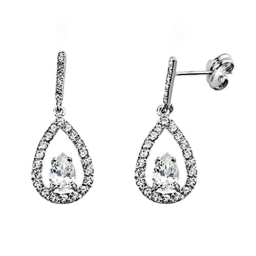 Boucled'oreille 18k or blanc zircone long 6x4mm. [AA6095]