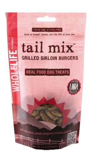 Whole Life Pet Tail Mix Real Food Treats for Dogs-Grilled Sirloin Burgers, 2.5oz