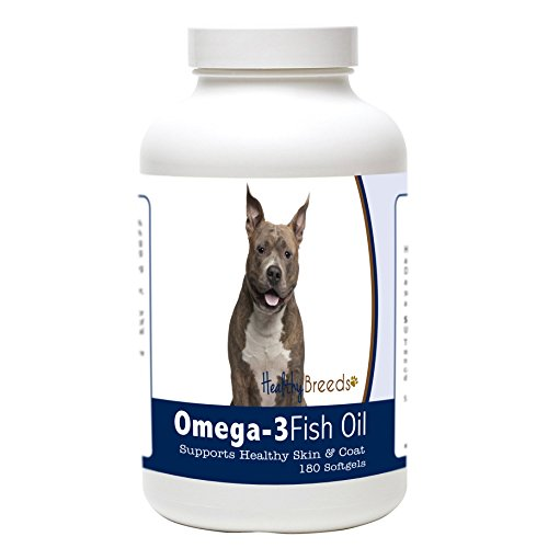 Healthy Breeds Dog Skin and Coat Supplement Omega 3 for Staffordshire Bull Terrier - Over 200 Breeds - Clean Source EPA DHA - Help Dry Itchy Skin - 180 Count