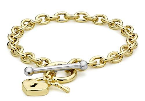 """9ct or 2couleurs Coeur Serrure et clé en T Bracelet maille jaseron 19cm/7,5"""""""