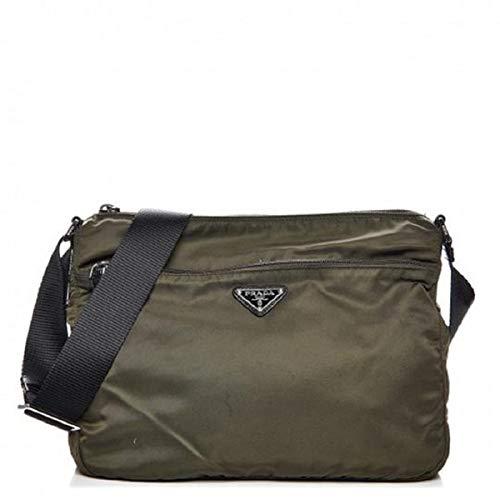Prada Bandoliera Mimetico Green Tessuto Nylon Saffian Leather Trim Crossbody Bag 2VH563 ()