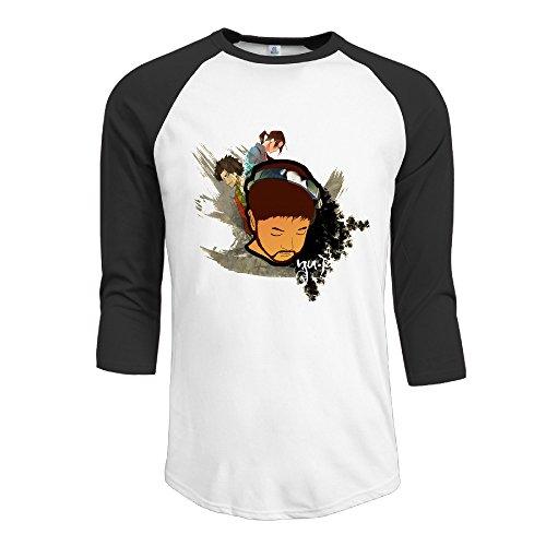 ElishaJ Men's Raglan 3/4 Sleeve T-Shirt Nujabes Black Size XL