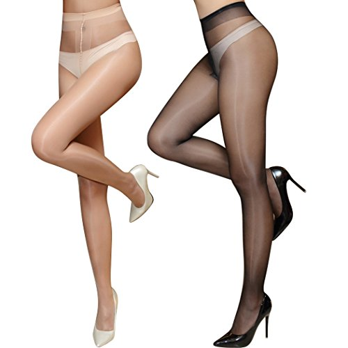 lifevv Women's 2 Pairs 15D Ultra Shimmer Plus Footed Tights (Black+Nude)