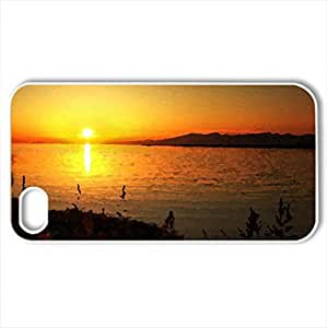 Beautiful Sunset - Case Cover for iPhone 4 and 4s (Sunsets Series, Watercolor style, White)