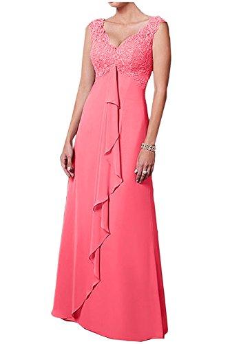 Brautmutterkleider V Chiffon Rock Wassermelon Langes La Weiss A Abendkleider Braut Damen Spitze Ballkleider Herrlich mia Linie Ausschnitt Zqx6xWwB