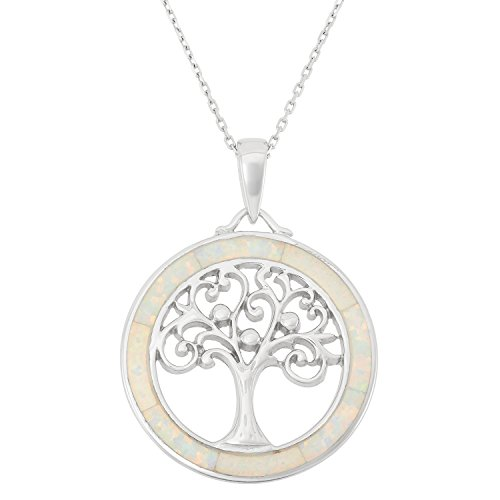 - Beaux Bijoux Sterling Silver Tree of Life Created White Opal Circle Pendant with 18