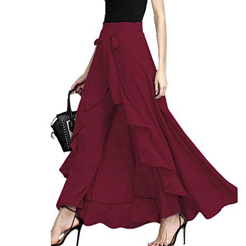 FLORHO Women Casual Ruffle Palazzo Long Pants Split High Waist Pleated Maxi Skirt Wine Red 3XL