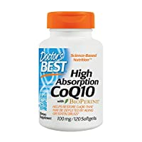Doctor's Best Alta absorción CoQ10 con BioPerine, Sin gluten, Fermentado naturalmente, Salud del corazón, Producción de energía, 100 mg 120 cápsulas blandas