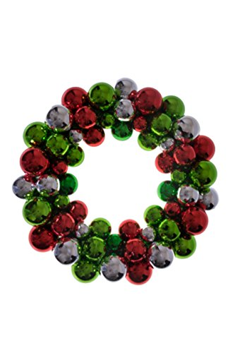 Christmas Ornament Wreath by Clever Creations | Bright Red Green & Silver | Festive Holiday Décor | Classic Theme | Lightweight Shatter Resistant | Great for Indoor/Outdoor Use | 13.5