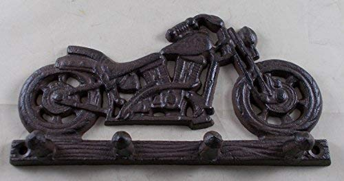 (Cast Iron Motorcycle Themed Hook Rack)